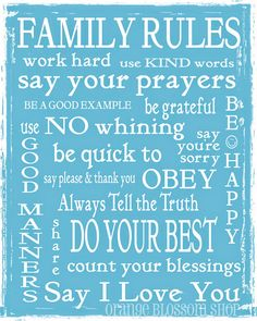 Family rules subway art typography digital by orangeblossomshopaz, $12.00