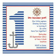 Nautical blue, white sailboat 1st birthday party custom announcements