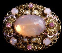 West Germany Pink Moonstone Rhinestone Enamel Pearl Vintage Estate Brooch Pin | eBay