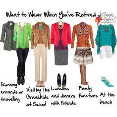 """""""What to Wear when You've Retired"""" by imogenl on Polyvore - good ideas for stylish combinations for running errands etc even for the non-retired!"""