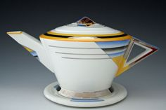 Mode Shades & Lines Teapot & Stand | Shelley | Desired Antiques & Collectables