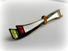 Guilloche Enamel Bar Pin Art Deco Vintage by ToadSuckTreasures, $22.00
