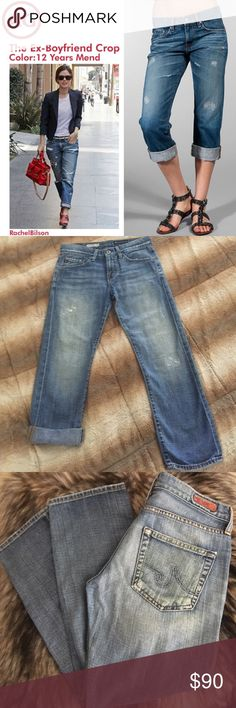 """Adriano Goldschmied AG Ex Boyfriend Crop Jeans 25 Adriano Goldschmied AG Ex-Boyfriend Cropped Distressed Destroyed Denim Jeans. Size 25. Retail price $275.  Material: 100% Cotton  Actual Measurements: Waist 14.5"""" across laid flat - Rise 9"""" -Inseam 25"""" Long when unfolded & 21"""" Long when rolled twice like in my 2nd picture. Classic 5 pocket style with belt loops and zip button closer. Both distressed areas on legs are made by the designer and are patched inside to avoid getting bigger. Perfect…"""