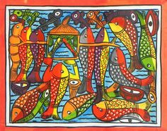 Wedding Celebration in the Fish World (Kalighat Painting - Water Color on Paper - Unframed))