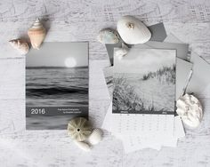 2016 Calendar, Black and White 4x6 Loose Leaf Calendar, Ocean Photography Calendar, 2016 5x7 Beach Calendar, Coastal Desk Calendar Small