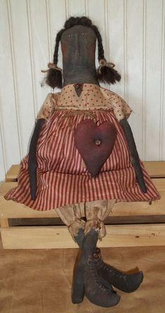 Primitive Grungy Black Girl Doll & Her Valentine Heart #NaivePrimitive