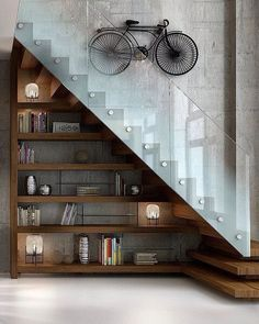 Staircase Decorating Ideas Interior Design Creative Ways to Decorate Your Staircase Staircase Decorating Ideas Interior Design. Whether indoors or outdoors, a staircase always presents a unique and… Shelves Under Stairs, Staircase Shelves, Under Stairs Cupboard, Modern Staircase, Staircase Design, Staircase Glass, Bookshelves, Loft Design, Modern House Design