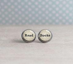 Read Books Stud Earrings Reader Earrings by PaperHeartDaily