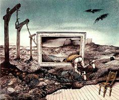 Hans Arnold Work In Sweden, Walk The Line, Creepy Horror, Illustration Art, Illustrations, Horror Stories, My World, Fairy Tales, Animation