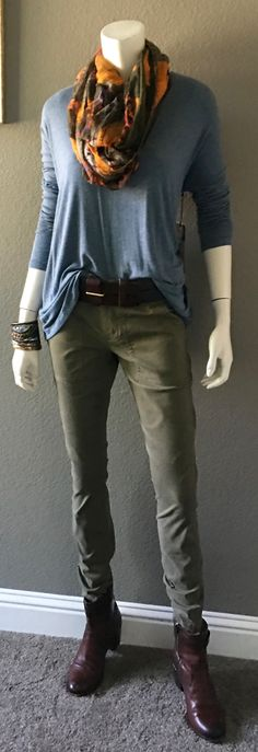 cabi fall '16 Scout, Here or There Belt and Relax Tee with a cute scarf from Target and Frye boots. http://shaynigeorge.cabionline.com #cabiootd #cabiclothing #springintofall