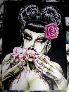 Original Nik Guerra art illustration / ZOMBIE LADY - Brain Feast / Mixed Media / published horror sexy pinup black white green red comics by NikGuerraOriginalArt on Etsy https://www.etsy.com/listing/263414641/original-nik-guerra-art-illustration