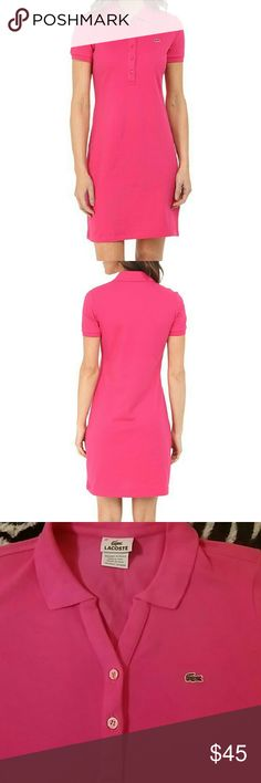Lacoste Pink dress Lacoste, Short Sleeve Pique Polo Dress, stretch, excellent condition. ( dress in the pic has more buttons, this dress as you can see in the las two picture has only two buttons.) Lacoste Dresses Mini