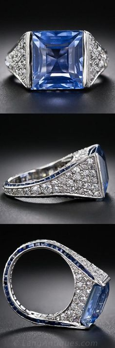 Art Deco Sapphire and Diamond Ring - A gorgeous square-cut, natural cornflower-blue Ceylon sapphire, weighing 8.00 carats and is embraced on all sides (and all around the shank) by tiny glistening old-cut diamonds, pave'-set and accented all around the ring shank with two slender rows of tiny calibre-cut sapphires. A truly magnificent and unique Art Deco jewel, ca. 1925.