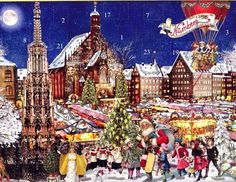 The Christmas Market in Nuremberg is featured in this colorful advent calendar.
