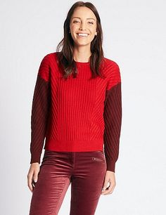 Wool Rich Colour Block Round Neck Jumper | Marks & Spencer London