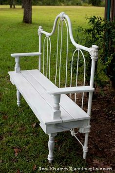 Repurposed old metal headbord into a beautiful outdoor garden bench for front porch or indoors foyer; add wooden plank seat, arms and salvaged wood legs.  Upcycle, Recycle, Salvage, diy, thrift, flea, repurpose, refashion!  For vintage ideas and goods shop at Estate ReSale & ReDesign, Bonita Springs, FL