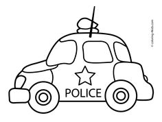 Police car transportation coloring pages for kids, printable free
