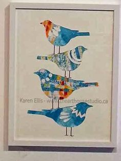 The Art House Studio: Stacked Birds - Gelli Print Collage with Brother's ScanNCut Machine