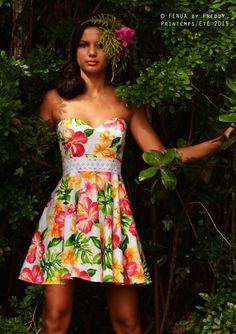 Robe Fleurie, Tahitienne, Pacifique, Tenue Mariage, Demoiselle, Honneur,  Tenues, Robe De, Mariages