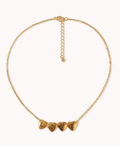 L.O.V.E. Heart Charm Necklace   FOREVER21 - 1075214631