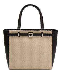 Loving this Kate Spade Natural & Black Houston Street Straw Demarco Leather Tote on #zulily! #zulilyfinds