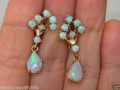 Vintage Antique Deco Crystal Jelly Fire Opal Dangle Drop 14k Earring 4.46ctw