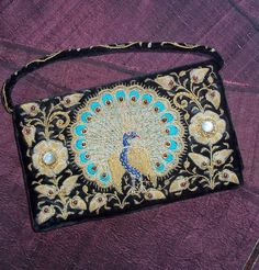 Vintage Gold Wire Embroidered Velvet Evening Bag w /Peacock Made in India w/ Gemstones 1940s 1950s - Garnet Moonstone Gold Embroidery Purse