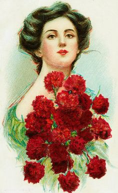 Postcard of Woman with Red Carnations Postcards, Greetings Cards, Art Prints, Canvas, Framed Pictures, T-shirts & Wall Art by Corbis