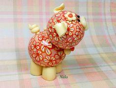 Nelo Polymer Clay Piglet Figurine by TheWorldOfMerryBerry on Etsy, $12.00