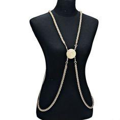 EsMor Gold Body Chain Medallion Disc Embellishment Wheat Body Jewelry