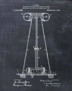 This is a print of the patent drawing for a Nikola Tesla Coil Transmitter patent in 1914. The original patent has been cleaned up and enhanced to create an attractive display piece for your home or office. This is a great way to put your interests and hobbies on display. Wonderful gift Engineering Science, Electrical Engineering, Engineering Quotes, Engineering Projects, Chemical Engineering, Science Experiments, Tesla Motors, Nikola Tesla Patents, Nicola Tesla