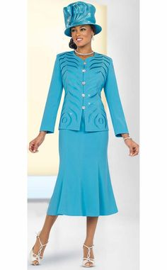 Fifth Sunday 52834-Blue Fluted Skirt Suit With Embroidered Jacket