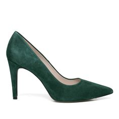 Suède pointy pumps donkergroen #pumps #grey #high heels