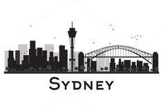 Sydney City skyline black and white silhouette. Sydney Skyline, Sydney City, Illustration Art Drawing, City Illustration, Skyline Silhouette, Silhouette Art, Skyline Tattoo, Art Deco Colors, Watercolor City