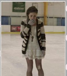 Allison Argent  Teen Wolf  Crystal Reed  White Dress  Striped Cardigan  Winter Outfit  Women's Fashion