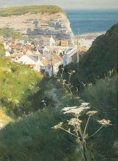"""Pathway to the Village Staithes"" by David Curtis 2012, oil. (Richard Hagen Fine Art Gallery)"
