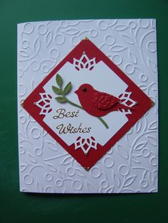 "Couture Creations ""Alora"" embossing folder, Stampin up Bird Builder punch and Martha Stewart corner punch"