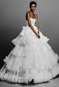 viktor and rolf spring 2019 bridal strapless sweetheart neckline minimallist bodice layered skirt princess ball gown a line wedding dress (4) mv -- Viktor&Rolf Spring 2019 Wedding Dresses | Wedding Inspirasi #wedding #weddings #bridal #weddingdress #bride ~