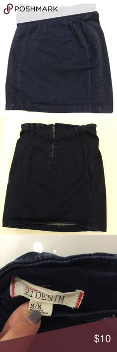 21Denim by forever21 high waisted skirt High waisted skirt from forever 21. Size medium. Navy blue denim. Soft cotton material. Great condition. Forever 21 Skirts Mini