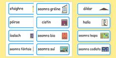 * NEW * Parts of a House Word Cards Gaeilge