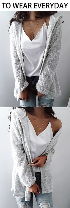 $36.99! Chicnico Simple Open Collar Solid Color Fluffy Cardigan. Get ready for Fall fashion! Find fashionable outfits for the new