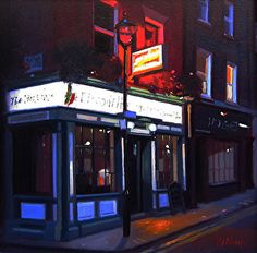"The Itallian Job, Soho, London by Michael John Ashcroft Oil ~ 10"" x 10"""