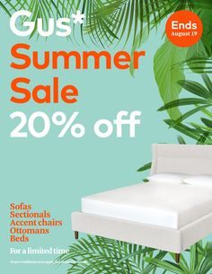 Only 3 Days Left to save big on our Carmichael Bed by Cambie Parchment. Don't forget to take advantage of our Gus* Summer Sale for off. August Summer, Summer Sale, Chair And Ottoman, Queen Beds, Sectional Sofa, Forget, Big, Modern, Home Decor