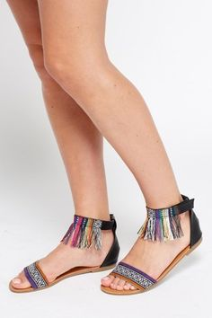 6f18a0e5bc6250 Aztec Print Fringed Ankle Sandals - 4 Colours - Just £5  Summer  Sandals.  Comfortable Flip FlopsStrappy SandalsYour StyleSummer ...