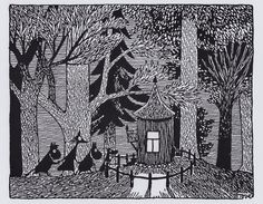 Moomin Picture Poster 24 x 30 cm Tove Jansson Illustrations Dark Woods Art And Illustration, Illustrations Posters, Vintage Illustrations, Scratch Art, Tove Jansson, Art Articles, Dark Wood, Helsinki, Fantasy Art
