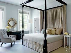 Wall color BM's Gray Mist. ..  from  Gray Bedroom & Living Room Paint Color Ideas Photos | Architectural Digest --