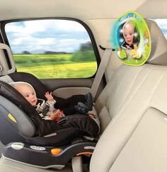The Baby In-Sight Auto Mirror both lets you see your baby on long drives and entertains her.