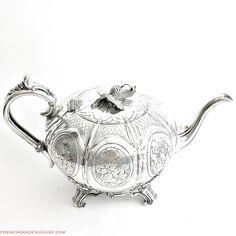 19th Century #English #Tea Pot Melon Shape Monogram M B. #Frenchgardenhousestyle