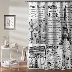 Give your bathroom an international makeover with this Paris France shower curtain from Lush Decor. With its bold black and white color scheme, the twill fabric curtain suits a contemporary home. Mate