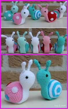 Crochet Dolls Patterns Amigurumi Snail Crochet Free Patterns - Amigurumi Snail Crochet Free Patterns: Roll Up snails, heart snails, mini snails, video tutorial Crochet Keychain Pattern, Crochet Shoes Pattern, Crochet Amigurumi Free Patterns, Easy Crochet Patterns, Knitting Patterns, Tutorial Crochet, Doll Patterns, Crochet Escargot, Crochet Snail